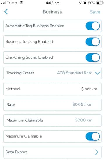Screenshot with ATO Standard Rate selection