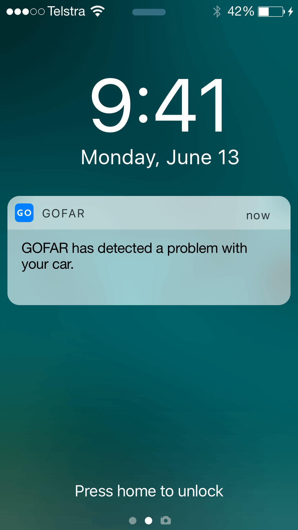 GOFAR phone notification that it has detected a problem with your car.