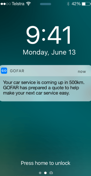 Phone notification from GOFAR on upcoming car service plus quote.