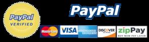 PayPal, MasterCard, VISA, American Express, Discover Network, and ZipPay logos