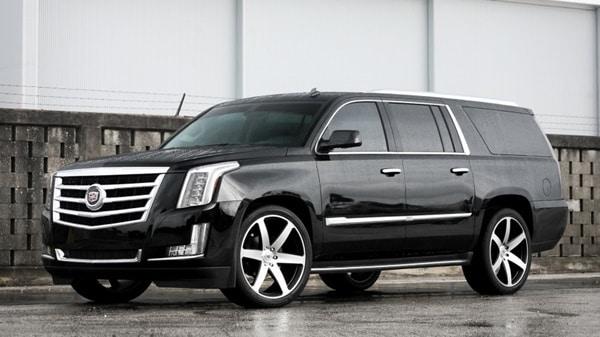 Black wet Cadillac
