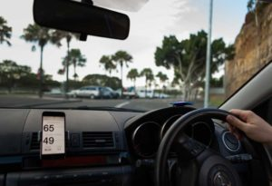 GOFAR Ray mounted on the car's dashboard