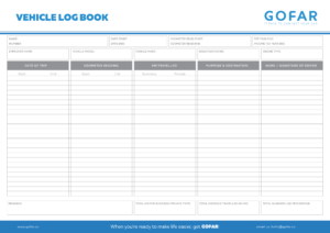 vehicle logbook template in landscape form