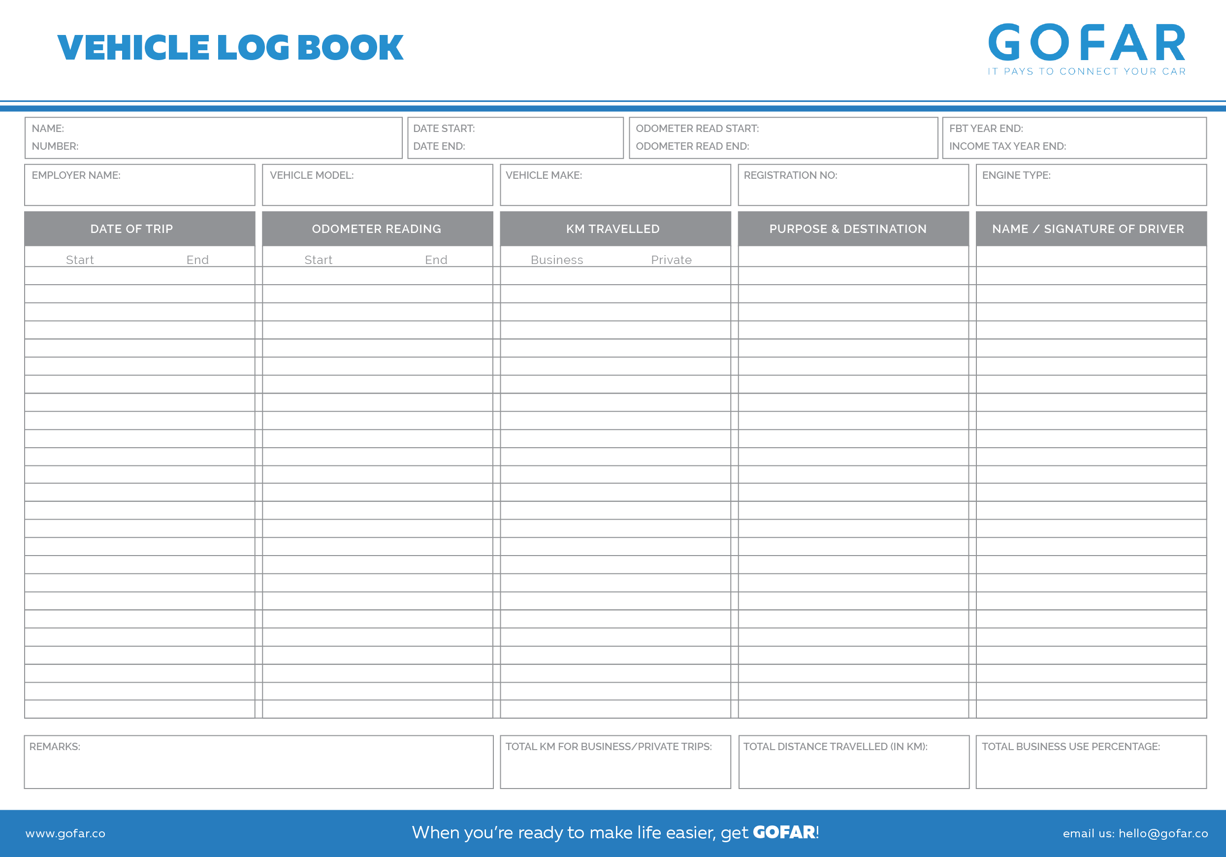 vehicle logbook templates
