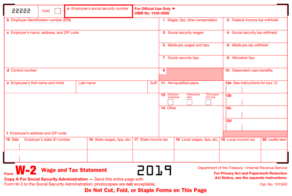 IRS W-2 tax form